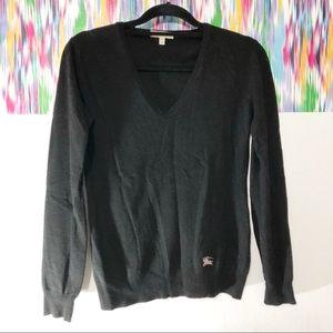 Burberry black v-neck sweater plaid elbow pads